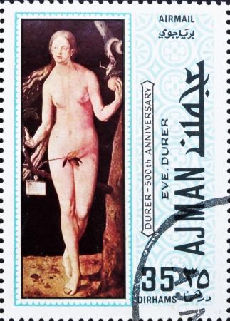 durer: AJMAN - CIRCA 1970: un francobollo stampato in Ajman mostra Eva, dipinto di Albrecht Durer, 500 � anniversario della nascita, circa 1970