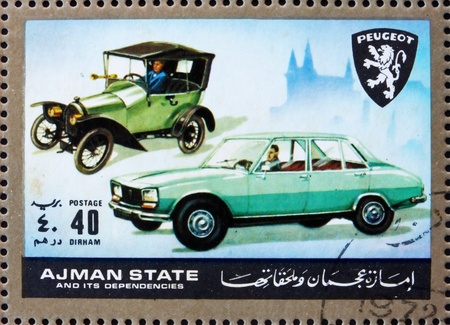 the  then: AJMAN - CIRCA 1972: a stamp printed in the Ajman shows Peugeot, Cars Then and Now, circa 1972