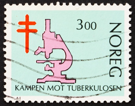 NORWAY - CIRCA 1982: a stamp printed in the Norway shows Microscope, Fight against Tuberculosis, circa 1982