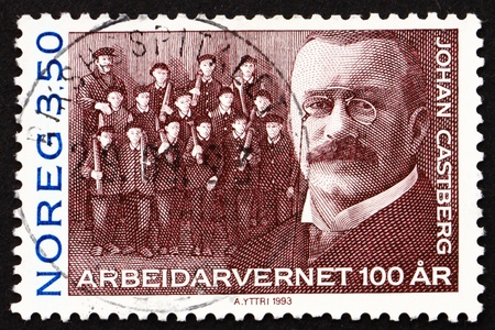 jurist: NORWAY - CIRCA 1993: a stamp printed in the Norway shows Johan Castberg, Norwegian Jurist and Politician, Government Minister, circa 1993
