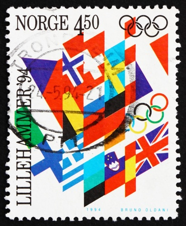 NORWAY - CIRCA 1994: a stamp printed in the Norway shows Flags, Winter Olympic Games, Lillehammer 94, circa 1994 Stock Photo - 14335378