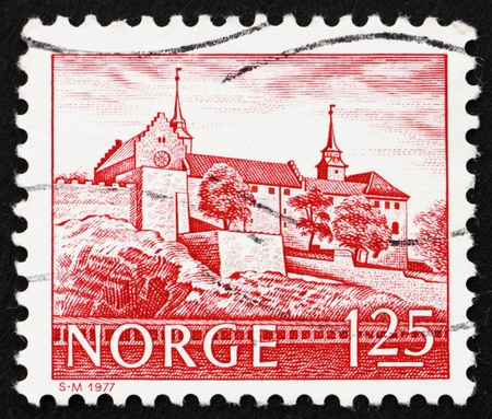 NORWAY - CIRCA 1977: a stamp printed in the Norway shows Akershus Castle, Oslo, Norway, circa 1977