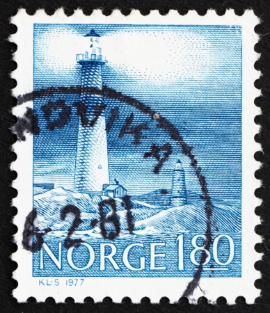 NORWAY - CIRCA 1977: a stamp printed in the Norway shows Torungen Lighthouses, Arendal, Twin Lighthouses, Norway, circa 1977