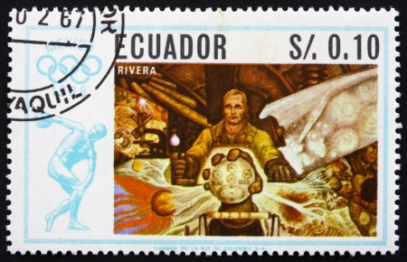 ECUADOR - CIRCA 1967: a stamp printed in the Ecuador shows Wanderer, Painting by Diego Rivera, Summer Olympics, Mexico City 68, circa 1967