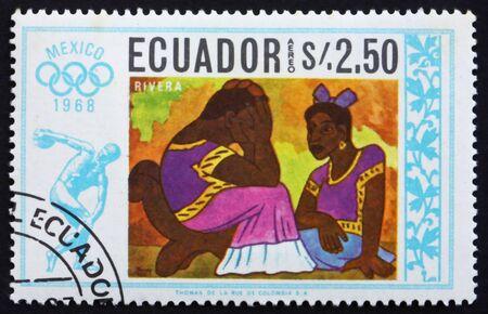 ECUADOR - CIRCA 1967: a stamp printed in the Ecuador shows Two Women, Painting by Diego Rivera, Summer Olympics, Mexico City 68, circa 1967