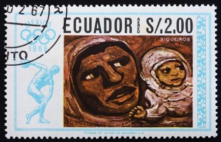 ECUADOR - CIRCA 1967: a stamp printed in the Ecuador shows Mother and Child, Painting by David Siqueiros, Summer Olympics, Mexico City 68, circa 1967