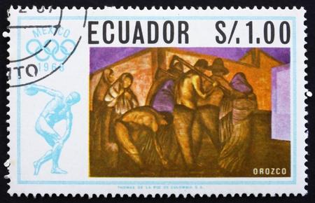 ECUADOR - CIRCA 1967: a stamp printed in the Ecuador shows Workers, Painting by Jose Orozco, Summer Olympics, Mexico City 68, circa 1967