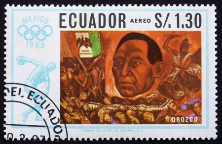 ECUADOR - CIRCA 1967: a stamp printed in the Ecuador shows President Juarez, Painting by Jose Orozco, Summer Olympics, Mexico City 68, circa 1967