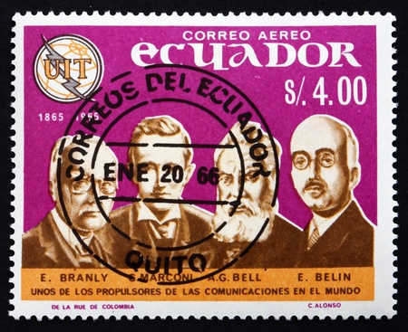 ECUADOR - CIRCA 1966: a stamp printed in the Ecuador shows E. Branly, Marconi, Bell, E. Belin, Pioneers of Telecommunications, circa 1966