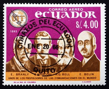 ECUADOR - CIRCA 1966: a stamp printed in the Ecuador shows E. Branly, Marconi, Bell, E. Belin, Pioneers of Telecommunications, circa 1966