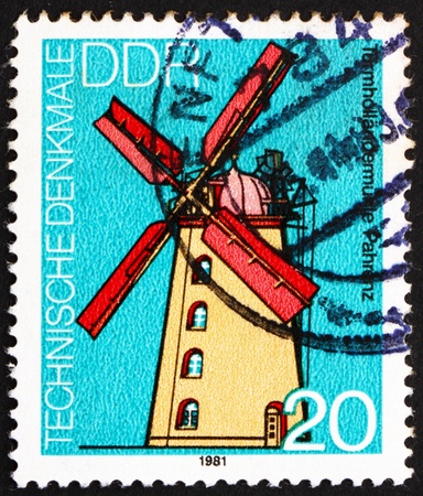 GDR - CIRCA 1981: a stamp printed in GDR shows Windmill, Pahrenz, Germany, circa 1981