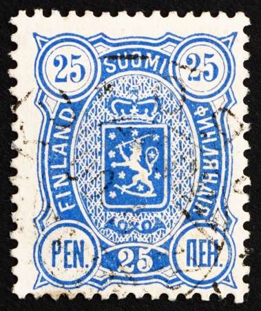rampant: FINLAND - CIRCA 1895: a stamp printed in the Finland shows Crowned Lion Rampant, Arms of Finland under Russian Empire, circa 1895