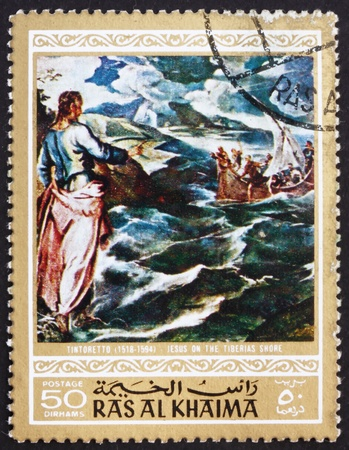 RAS AL-KHAIMAH - CIRCA 1970: a stamp printed in the Ras al-Khaimah shows Christ at the Sea of Galilee, Painting by Jacopo Tintoretto, Life of Jesus Christ, circa 1970