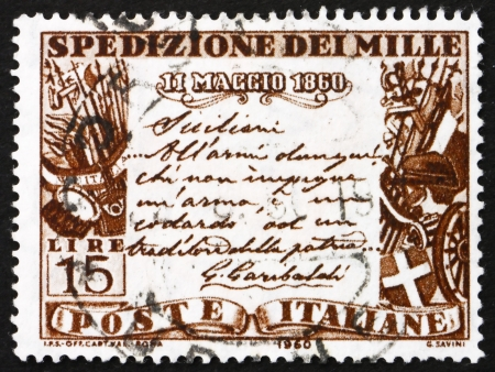 proclamation: ITALY - CIRCA 1960: a stamp printed in the Italy shows Garibaldi�s proclamation to the Sicilians, Centenary of the Liberation of Southern Italy by Garibaldi, circa 1960