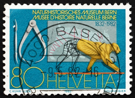 SWITZERLAND - CIRCA 1982: a stamp printed in the Switzerland shows Bern Museum of Natural History, Sesquicentennial, circa 1982