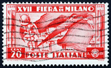 ITALY - CIRCA 1936: a stamp printed in the Italy shows Map of Italian Industries, 17th Milan Trade Fair, circa 1936