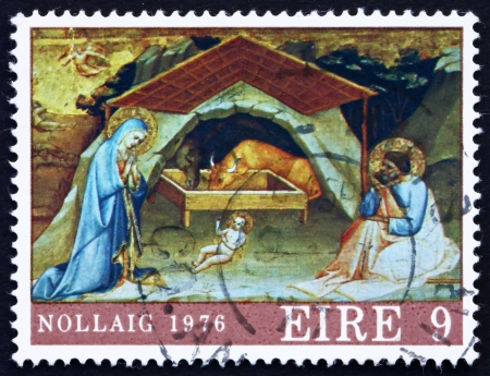 IRELAND - CIRCA 1976: a stamp printed in the Ireland shows Nativity, Painting by Lorenzo Monaco, Christmas, circa 1976