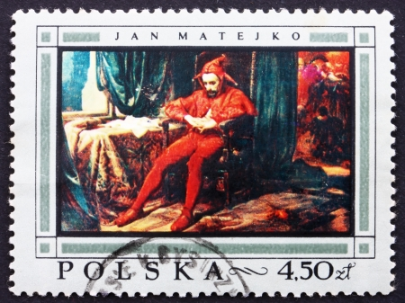 POLAND - CIRCA 1968: a stamp printed in the Poland shows Jester, Painting by Jan Matejko, circa 1968 Stock Photo - 14406611