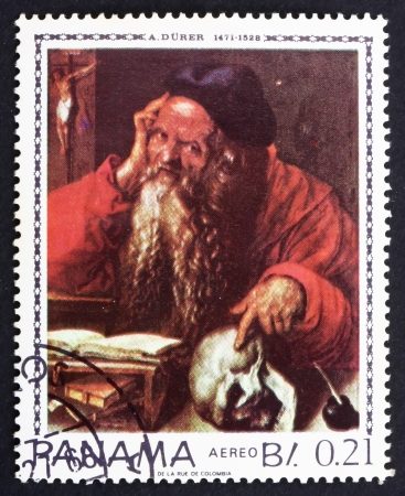 PANAMA - CIRCA 1967: a stamp printed in the Panama shows St. Hieronymus, Painting by Albrecht Durer, circa 1967