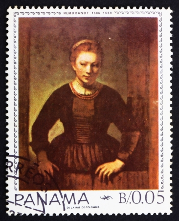 PANAMA - CIRCA 1967: a stamp printed in the Panama shows Maiden in the Doorway, Painting by Rembrandt, circa 1967