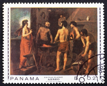 velazquez: PANAMA - CIRCA 1967: a stamp printed in the Panama shows The Blacksmith's Shop, Painting by Diego Velazquez, circa 1967