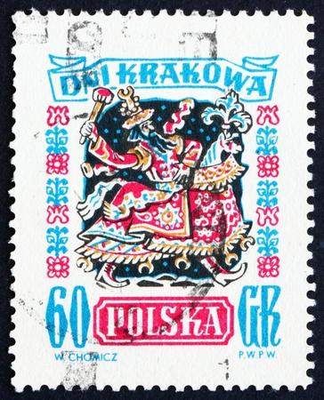 Polonia - alrededor de 1955: un sello impreso en la Polonia muestra Laikonik, Carnival Costume, Cracovia Días de Celebración, alrededor de 1955