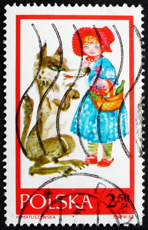 POLAND - CIRCA 1968: a stamp printed in the Poland shows Little Red Riding Hood, Fairy Tale, circa 1968 Stock Photo - 14418734