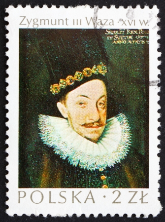 POLAND - CIRCA 1974: a stamp printed in the Poland shows King Sigismund Vasa, King of Poland, painting by Marcin Kober, circa 1974 Stock Photo - 14418727