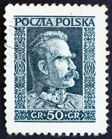 statesman: POLAND - CIRCA 1928: a stamp printed in the Poland shows Marshal Pilsudski, Chief of State, Statesman, circa 1928