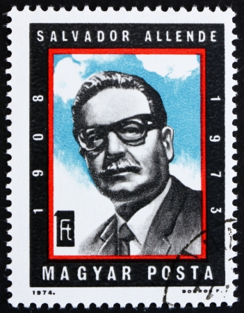 salvador allende: HUNGARY - CIRCA 1974: a stamp printed in the Hungary shows Salvador Allende, President of Chile, circa 1974