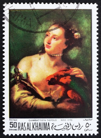 parot: RAS AL-KHAIMAH - CIRCA 1970: a stamp printed in the Ras al-Khaimah shows Woman with a Parot, Painting by Giovanni Battista Tiepolo, circa 1970 Editorial