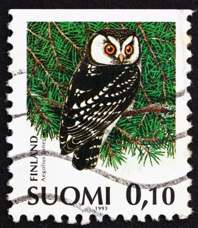 FINLAND - CIRCA 1991: a stamp printed in the Finland shows Boreal Owl, Aegolius Funereus, Bird, circa 1991