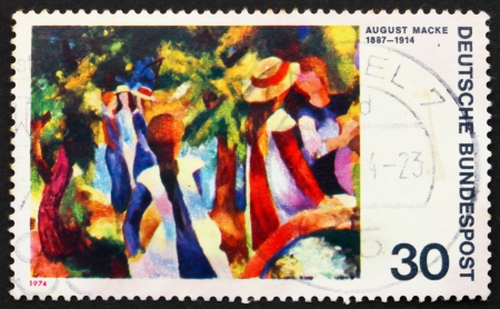 GERMANY - CIRCA 1974: a stamp printed in the Germany shows Girls under Trees, Painting by August Macke, German Expressionist Painter, circa 1974 Stock Photo - 14514372
