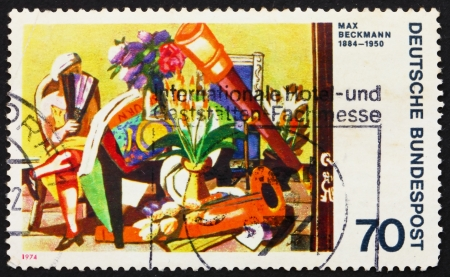 expressionist: GERMANY - CIRCA 1974: a stamp printed in the Germany shows Big Still-life, Painting by Max Beckmann, German Expressionist Painter, circa 1974