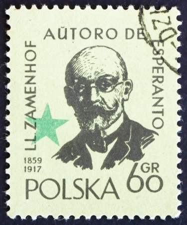 ludwig: POLAND - CIRCA 1959: a stamp printed in the Poland shows Lazarus Ludwig Zamenhof, Doctor, Linguist and Creator of Esperanto, Constructed Language, circa 1959 Editorial