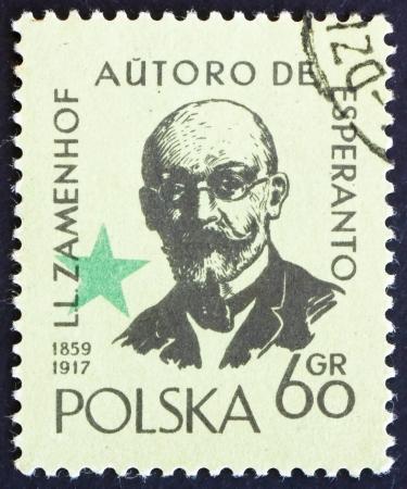 creador: POLONIA - CIRCA 1959: un sello impreso en Polonia muestra el L�zaro Ludwig Zamenhof, m�dico, ling�ista y creador del esperanto, lengua construida, alrededor del a�o 1959