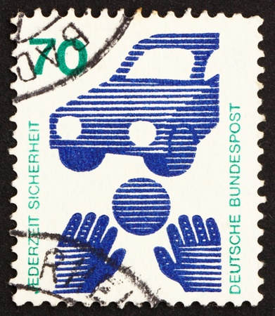 GERMANY - CIRCA 1973: a stamp printed in the Germany shows Traffic Safety, Ball Rolling before Car, circa 1973