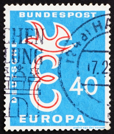 european integration: GERMANY - CIRCA 1958: a stamp printed in the Germany shows E and Dove, European Integration, circa 1958