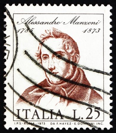 novelist: ITALY - CIRCA 1973: a stamp printed in the Italy shows Alessandro Manzoni, Novelist and Poet, circa 1973
