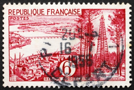 gironde department: FRANCE - CIRCA 1955: a stamp printed in the France shows View of Bordeaux, Gironde Department, France, circa 1955