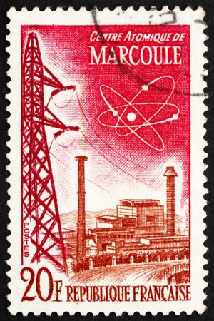 atomic center: FRANCE - CIRCA 1959: a stamp printed in the France shows Marcoule Atomic Center, Technical Achievements, France, circa 1959