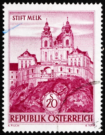 AUSTRIA - CIRCA 1963: a stamp printed in the Austria shows Melk Abbey, Austria, circa 1963 Stock Photo - 14542819