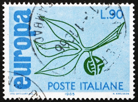 european integration: ITALY - CIRCA 1965: a stamp printed in the Italy shows Leaves and Fruit, European Integration, circa 1965
