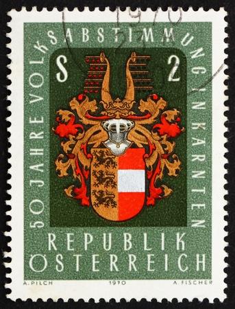 plebiscite: AUSTRIA - CIRCA 1970: a stamp printed in the Austria shows Arms of Carinthia, 50th Anniversary of Carinthian Plebiscite, circa 1970