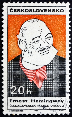 ernest: CZECHOSLOVAKIA - CIRCA 1968: a stamp printed in the Czechoslovakia shows Caricature of Ernest Hemingway, American Author and Journalist, circa 1968