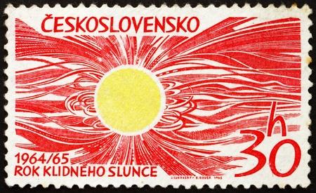 CZECHOSLOVAKIA - CIRCA 1965: a stamp printed in the Czechoslovakia shows Sun, Space Research, circa 1965