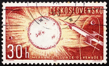CZECHOSLOVAKIA - CIRCA 1963: a stamp printed in the Czechoslovakia shows Rocket to the Sun, Space Research, circa 1963
