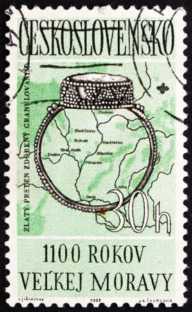 CZECHOSLOVAKIA - CIRCA 1963: a stamp printed in the Czechoslovakia shows 9th Century Ring, Map of Moravian Settlements, 1100th Anniversary of Moravian Empire, circa 1963