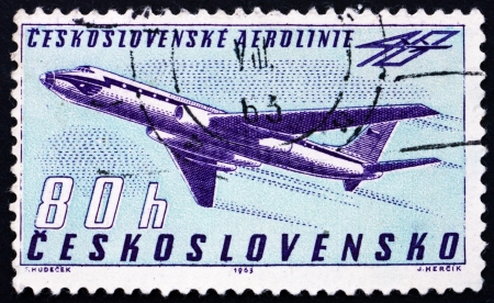 czechoslovak: CZECHOSLOVAKIA - CIRCA 1963: a stamp printed in the Czechoslovakia shows Tupolev Tu-104B Turbojet, 40th Anniversary of Czechoslovak Airlines, circa 1963