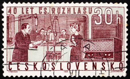 CZECHOSLOVAKIA - CIRCA 1963: a stamp printed in the Czechoslovakia shows Studio and Radio, 40th Anniversary of Czechoslovak Radio, circa 1963